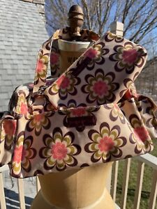 2 Bungalow360 Flower Power Pink Brown Flowers Satchel & Matching Small Cosmetic