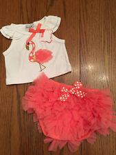 NWT MUD PIE Baby Girl FLAMINGO DIAPER COVER SET Coral Pink Tutu Sequin Sz 6-9M