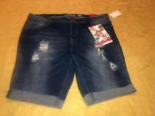 NEW WOMENS ALMOST FAMOUS STRETCH LOW RISE BERMUDA DENIM JEANS SHORTS SZ 22