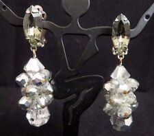 Vtg Lewis Segal Ca Signed Smoky Gray Rhinestone Silvered Crystal Clip Earrings