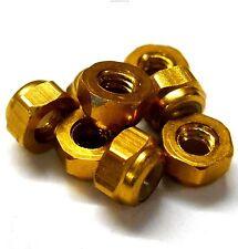 T10055Y 1/10 Scale RC Car Alloy M3 3mm Thread Nylon Lock Nuts x 8 Yellow Gold