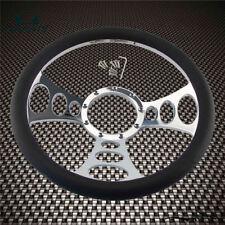 "14"" 9 Hole Chrome Aluminum Half Wrap PVC Steering Wheel For Chevy/GM IDIDIT"