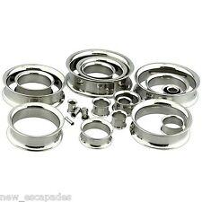 04mm/6 Gauge Body Jewelry Pair-Steel Double Flare Ear Tunnels