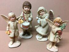 Vintage 1985/86 Porcelain Schmid Angels & Drummer Boy 2-Ornaments & 2-Figures!