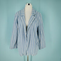 Chico's 3 Size Extra Large XL Blazer Jacket Chambray Stripe Open Front Chicos