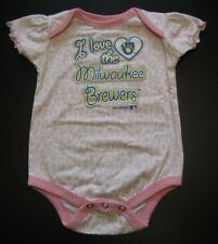Team Athletics MILWAUKEE BREWERS Baseball Romper One Piece Girl's 6-9 mo   91PP5