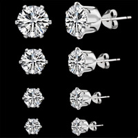 5Pairs/Set 925 Silver Sapphire Classic Stud Earrings Wedding Jewelry For Women