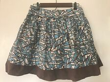 Foreve 21 A Line Skirt Geometric Feather Print 100% Cotton Size L Large