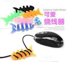 10pcs Soft Rubber Fish Bone Earphone Cable Winder Cord Wire Wrap Holder Colorful
