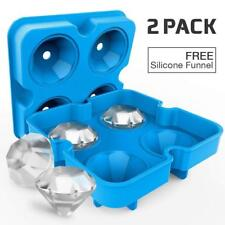 Ice Cube Moulds Tray 3D Diamond Shape Silicone Lid BPA Free 2 Pack