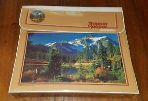 Vintage Mead Trapper Keeper 3 Ring Binder - Blue Lake Mountains Trees #29096