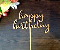 wooden happy birthday cake topper. Birthday cake decor Cake pick rustic wooden#5