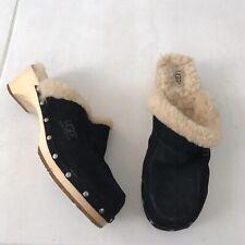 Uggs Kalie Women Sz 10 Mules Clogs Shoes Suede Sheepskin Wooden Studded Black