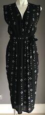 SHEIKE Black/Blue/White Floral Sleeveless Midi Length Waist Tie Dress Size 6