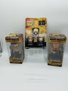 Lot The Walking Dead Rick Grimes Daryl Dixon Wacky Wobblers Bobblehead + Mini