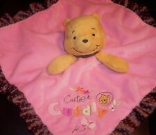 Disney Baby Winnie Pooh Rattle Lovey Security Blanket Plush Blankey Toy GUC
