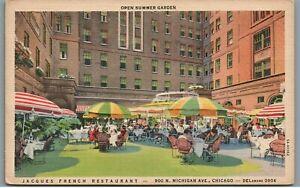 Vintage 1935 Linen Postcard: Jacques French Restaurant Michigan Ave Chicago IL