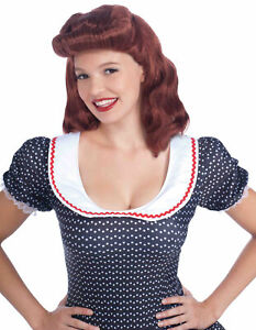1940s 1950s Lady Retro Pinup Betty Page Vintage Auburn Women Costume Wig