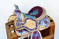 """HIGH QUALITY PURPLE PINK 15"""" WESTERN LEATHER HORSE TRAIL BARREL RACING SADDLE"""