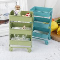 1:12 Dollhouse Miniature Furniture Shelf With Wheels Storage Display RackJCAUlb