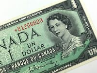 1967 Canada 1 Dollar Circulated BM Replacement Beattie Rasminsky Banknote R305