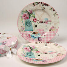 Bone China Gingham & Lace Set Of 2 Cake Lunch Dessert Plate Set Gift Boxed