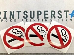 NO SMOKING WARNING SAFETY SIGNS STICKERS Clear Double sided 3 Pack glass & more
