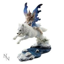 Free Spirit Blue Winged Wolf Fairy Jumping over River Figurine