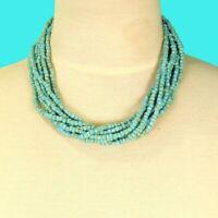 "16"" Multi Strand Aqua Turquoise Color Handmade Seed Bead Statement Necklace"