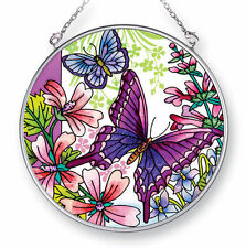 """Butterflies Wildflowers Sun Catcher AMIA 4.5"""" Round Hand Painted Glass Butterfly"""