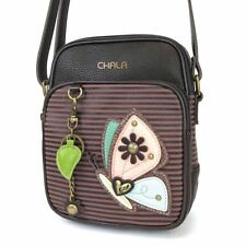NEW CHALA BURGUNDY PINK STRIPE BUTTERFLY ORGANIZER CROSSBODY FAUX LEATHER CANVAS