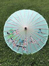 Vintage Hand Painted Asian Parasol Costume Accessory Bamboo Shaft Nylon Canopy