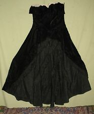 VINTAGE YOUNG WOMAN's BLACK FORMAL GOWN VELVET w/RUFFLED SATIN TRIM