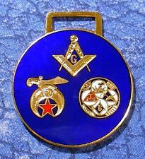 Masonic, Shriner, York Rite 3 Emblem Logo Watch Fob