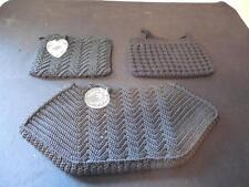 Vintage Lot 3 Black Crochet 1960s Lucite Purses Hand Bags w/ Heart & Leaf Tags