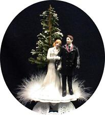 SEXY Bride Groom Figure Winter Wonderland Snow Snowing Wedding Cake Topper coat
