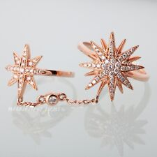 18K Rose Gold Fashion Double Star Ring Chain Link Knuckle Ring 0.60Ct Diamonds