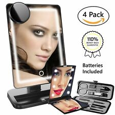 4pc LED Light Vanity Make-up Mirror Cosmetic, Manicure Set, Touch Screen Dimmer