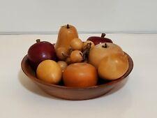 Ozark Walnut Wood Bowl with Wood Carved Fruits