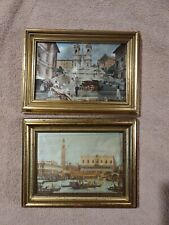 Vtg Lot of 2 1977 Souvenir Gold Tone Picture Frames Rome Italy Silk fabric