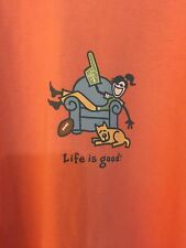 "LIFE IS GOOD WOMENS T- SHIRT XXL Cotton Orange Short Sleeve ""Number One"""