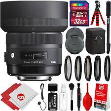 Sigma 30mm F1.4 Art DC HSM Lens for Nikon F + Advanced Travel Bundle Kit