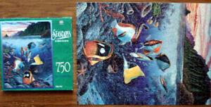 "1990 MILTON BRADLEY 750-PC PUZZLE Undersea Waltz 18"" x 24"" MADE IN U.S.A."