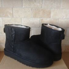 UGG Classic Mini Exotic Scales Black Suede Sheepskin Boots Size US 11 Womens