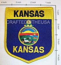 Kansas State Flag Shield Embroidered Patch Sew Iron On Biker Vest Applique New