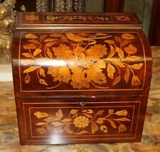 STUNNING Dome Top Dutch Flemish Marquetry Inlaid Walnut Satinwood Jewelry Box