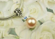 Peach Crystal Pearl Dangle Charm Bead European Style w Swarovski Elements