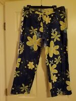 Water Girl by Patagonia Organic Cotton Blue Green Capri Pants Tropical Flower 14