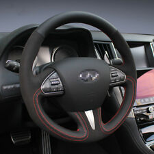 For Infiniti  Q50 Steering Wheel Stitch on Wrap Cover Black Leather Red Thread