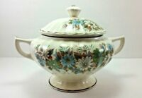 Royal Sealy Soup Tureen Bowl and Lid White Green Blue Daisy Floral Vintage